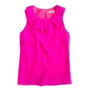 J Crew Gabby ruffle top in bright pink